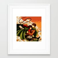 shingeki no kyojin Framed Art Prints featuring Shingeki no Kyojin ~Eren & Mikasa~ by eriboook