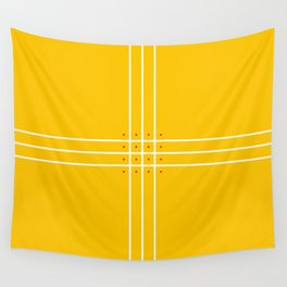 Fine Lined Cross on Yellow Wall Tapestry