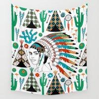 headdress Wall Tapestries featuring Headdress by Vannina