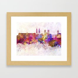 Caen skyline in watercolor background Framed Art Print