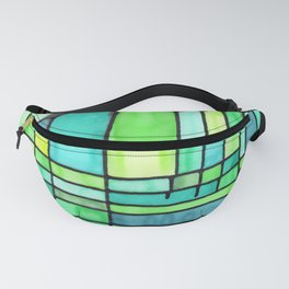 Green Frank Lloyd Wrightish Stained Glass Fanny Pack