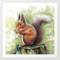 squirrel Art Prints featuring Squirrel by Olechka