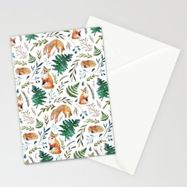 Foxes and Ferns Pattern Stationery Cards