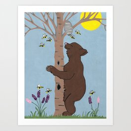 Bees And The Bear Art Print