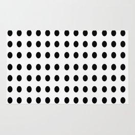black and white polka dot - polka dot,pattern,dot,polka,circle,disc,point,abstract,minimalism Rug