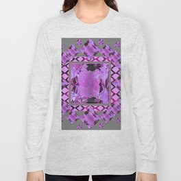 PURPLE AMETHYST FEBRUARY GEM BIRTHSTONES MODERN ART DESIGN Long Sleeve T-shirt