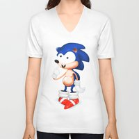 sonic V-neck T-shirts featuring SONIC  by i live