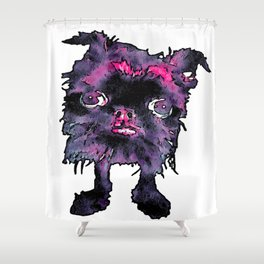 Lugga The Friendly Hairball Monster For Ghouls Shower Curtain