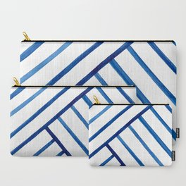 Watercolor lines pattern | Navy blue Carry-All Pouch