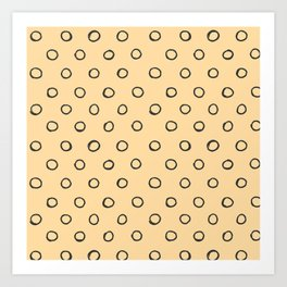 Hand painted black cape honey yellow polka dots pattern Art Print