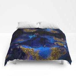 Gold and Indigo Malachite Marble Comforters