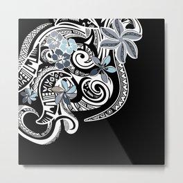 Hawaiian Platinum Floral Tribal Threads Metal Print