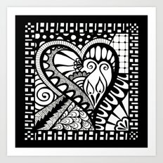 Abstract heart doodle Art Print