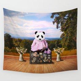 Baby Panda on Vacation Wall Tapestry