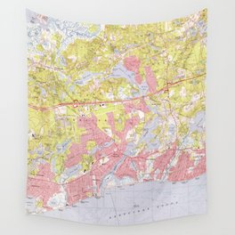 Dennis and Yarmouth Massachusetts Map (1974) Wall Tapestry