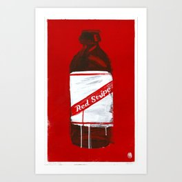 "Red Stripe (2011), 17"" x 27"", acrylic on gesso on chipboard Art Print"