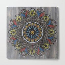 Singing Bird Mandala Metal Print