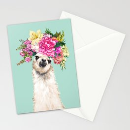 Flower Crown Llama in Green Stationery Cards