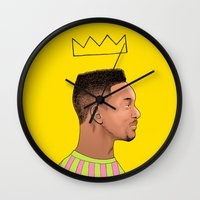 fresh prince Wall Clocks featuring Fresh Prince by Fresh Prints