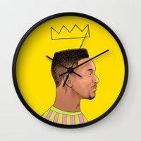 fresh prince Wall Clocks featuring Fresh Prince by Fresh Prints