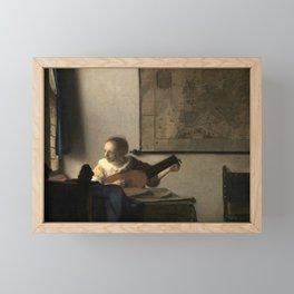 Vermeer,Woman with a Lute,Mujer con laúd, De luitspeelster Framed Mini Art Print