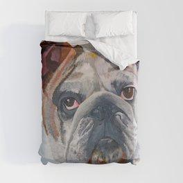 American Bulldog Artistic Pet Portrait Duvet Cover
