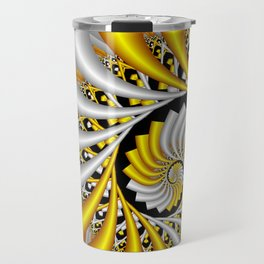spirals in gold and white Travel Mug