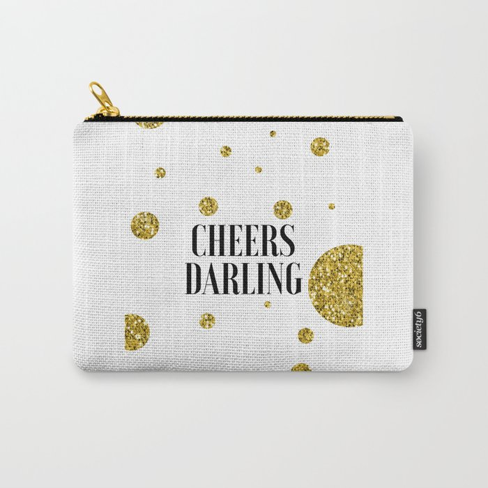 Champagne Sign Black And Gold Party Decor Bar Decorations Drink Store Poster Printable ARt Champagne Carry-All Pouch