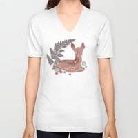 fawn V-neck T-shirts featuring fawn by k ei t