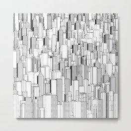 Tall city B&W / Lineart city pattern Metal Print