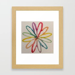 Spirograph Rainbow flower Framed Art Print