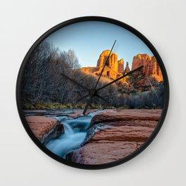 CATHEDRAL ROCK SEDONA PHOTO - ARIZONA SUNSET IMAGE - LANDSCAPE NATURE PHOTOGRAPHY Wall Clock