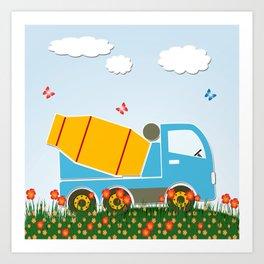 Cement mixer truck Art Print