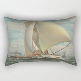 Vintage Painting of a Fast Sloop Sailboat (1895) Rectangular Pillow