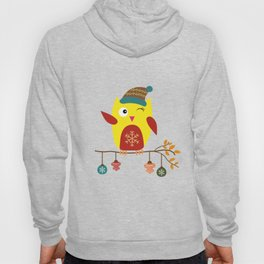 Cute Owl sitting on a branch with christmas baubles, Winter, X-mas Design Hoody