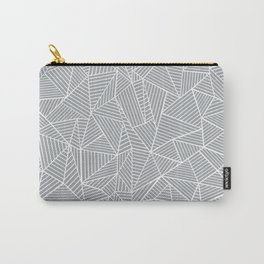 Abstract Lines 2 White on Grey Carry-All Pouch