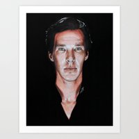 cumberbatch Art Prints featuring Benedict Cumberbatch  by Cécile Pellerin