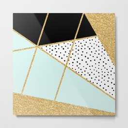Teal Gold & Black Abstract Collage Metal Print