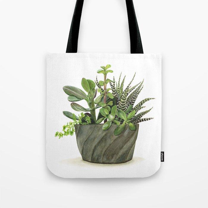Watercolor Succulents Tote Bag