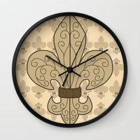 fleur de lis Wall Clocks featuring Fleur de Lis by eMJay Digital Art