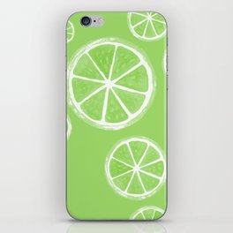 Green Limes Watercolour Fruit Illustrated Pattern iPhone Skin