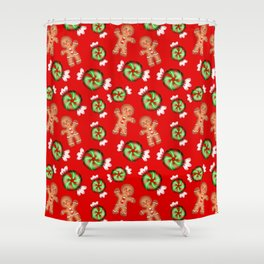 Lovely decorative seamless winter Christmas pattern. Happy jolly gingerbread men and sweet candy Shower Curtain