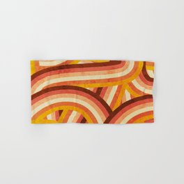 Vintage Orange 70's Style Rainbow Stripes Hand & Bath Towel