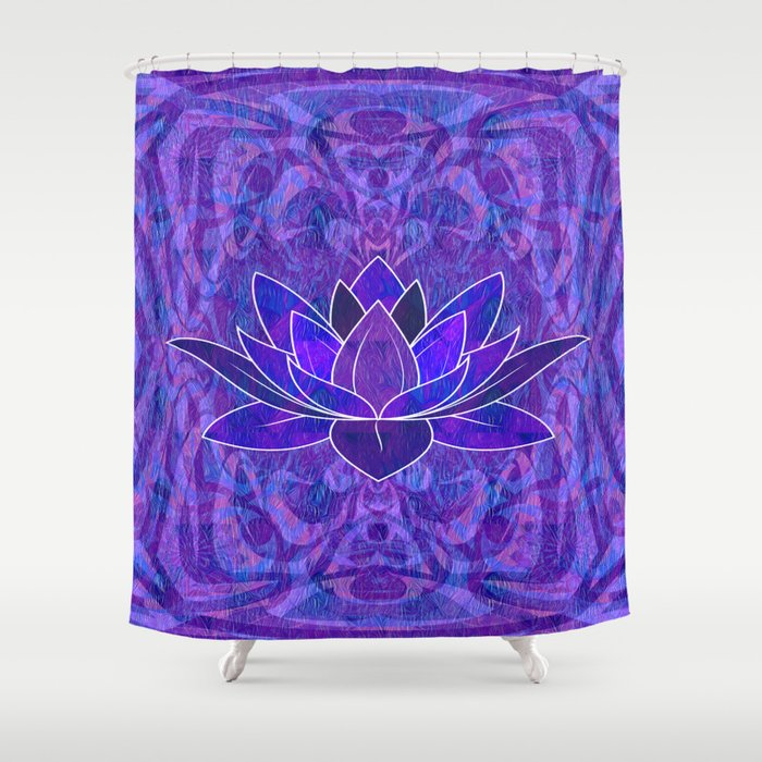 Blue And Purple Lotus Floral Tribal Print Shower Curtain By Carlieamberpartridge