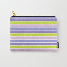 Trendy violet pink yellow modern stripes pattern Carry-All Pouch