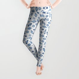 Retro Wristwatches Pattern in Blue and White Leggings
