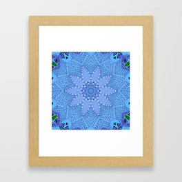 Malibu, Indigo & Aquamarine Flower Patterm Mandala Framed Art Print