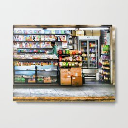 Subway News Stand Vendor Metal Print
