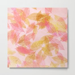 Autumn-world- gold leaves on pink Metal Print