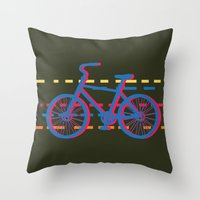 bicycle Throw Pillows featuring bicycle  by mark ashkenazi